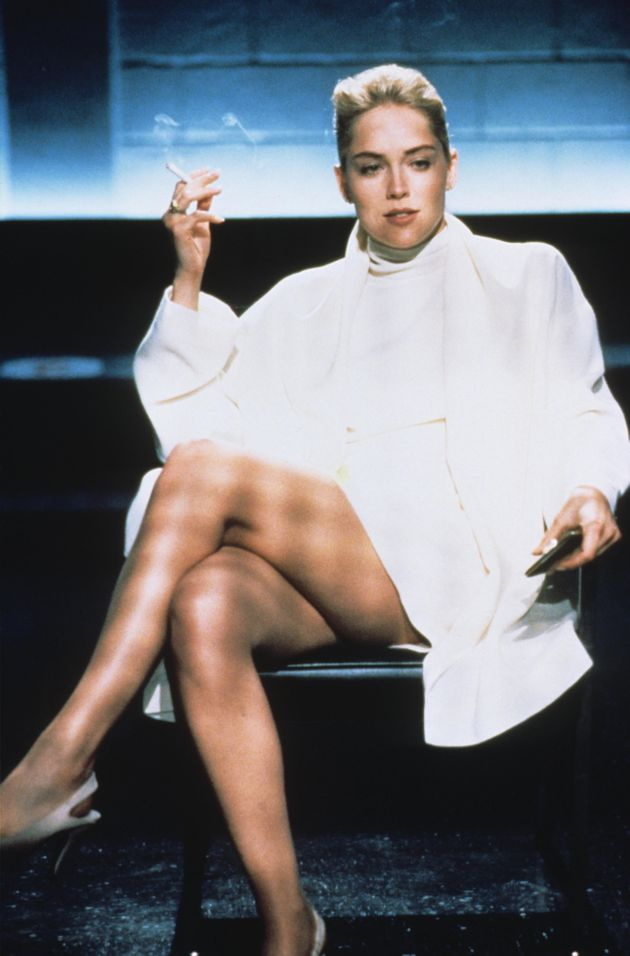 Sharon on the set of Basic Instinct in the early