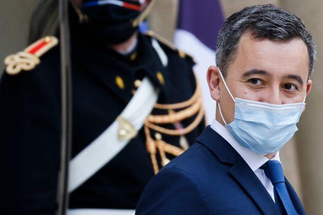 Le ministre de l'Intérieur Gérald Darmanin quittant l'Élysée le 6 janvier...