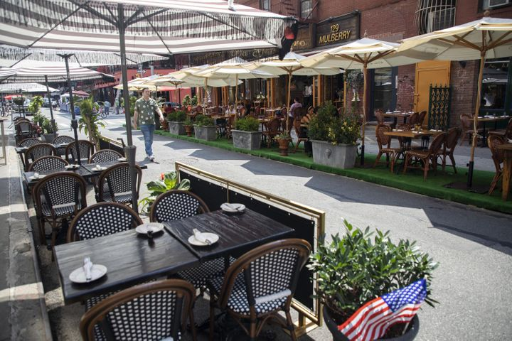 """The CDC lists indoor dining as a &ldquo;<a href=""""https://www.cdc.gov/coronavirus/2019-ncov/community/organizations/business-employers/bars-restaurants.html"""">higher risk</a>&rdquo; than outdoor dining, which allows for better ventilation."""