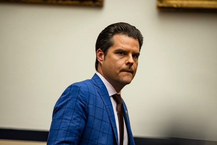 Rep. Matt Gaetz (R-Fla.) arrives for a House Armed Services subcommittee hearing on Dec. 9.