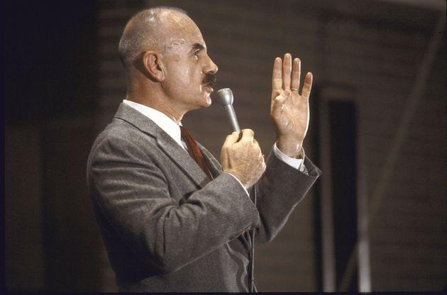 UNITED STATES - DECEMBER 01: Ex-Nixon aide/Watergate co-conspirator G. Gordon Liddy addressing students...