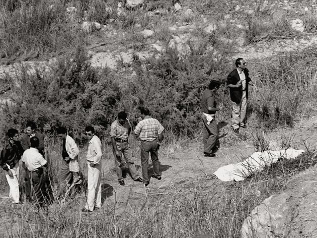 (DOUBLE RATES APPLY) A sheet covers the body of Italian magistrate Rosario Livatino murdered by a group...