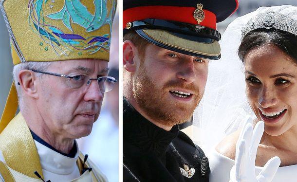 L'arcivescovo di Canterbury; il principe Harry e Meghan Markle nel giorno delle