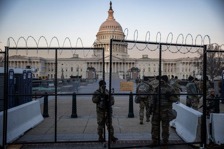 National Guard members are seen standing before the U.S. Capitol on February 8 as Trump faced a single article of impeachment