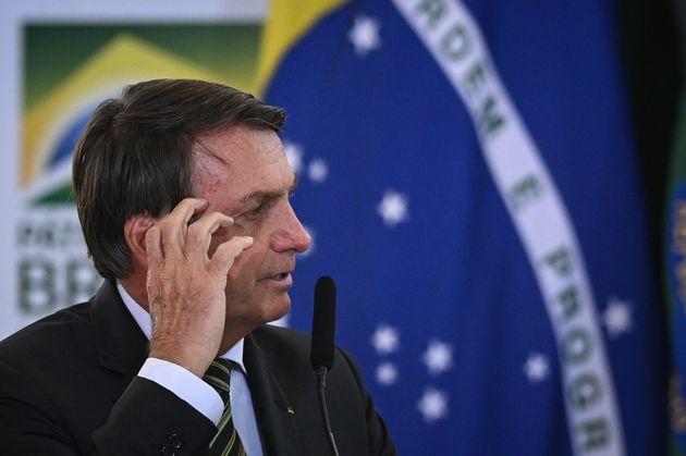 Brazil's President Jair Bolsonaro speaks during the launch ceremony of the platform Participa + Brasil,...