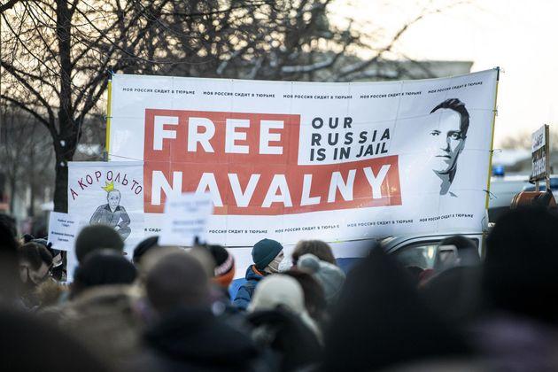 Manifestación celebrada en Berlín, Alemania, en favor de la liberación del opositor ruso Alexei