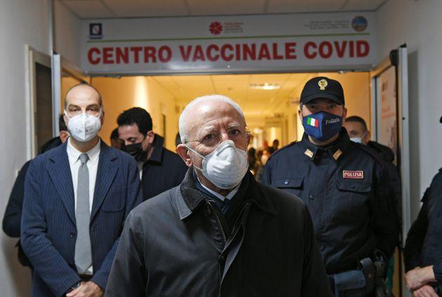 SALERNO, ITALY - DECEMBER 27: Vincenzo De Luca Campania President at V-Day at San Giovanni di Dio-Ruggi...