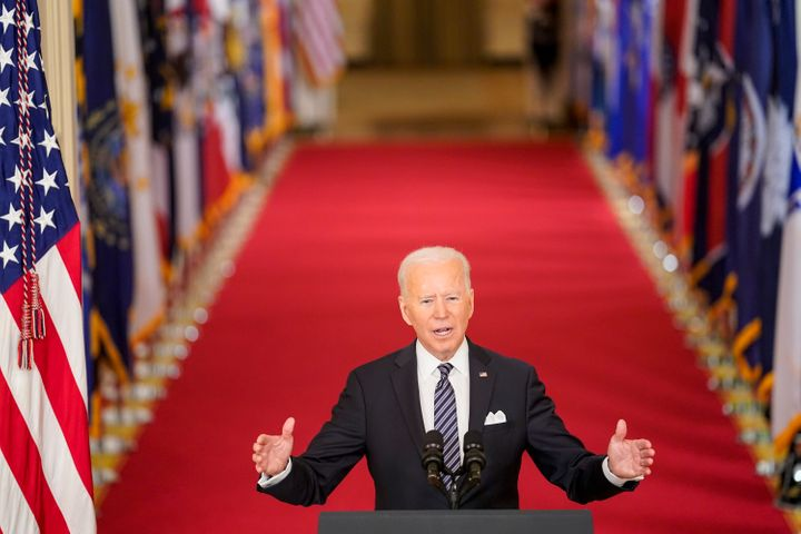President Joe Biden, seen here giving a televised speech at the White House earlier this month, is set to unveil his infrastr