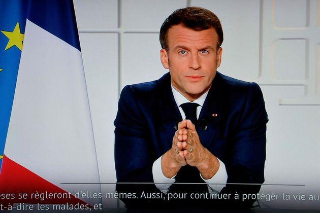 Imagen de Macron durante su mensaje al
