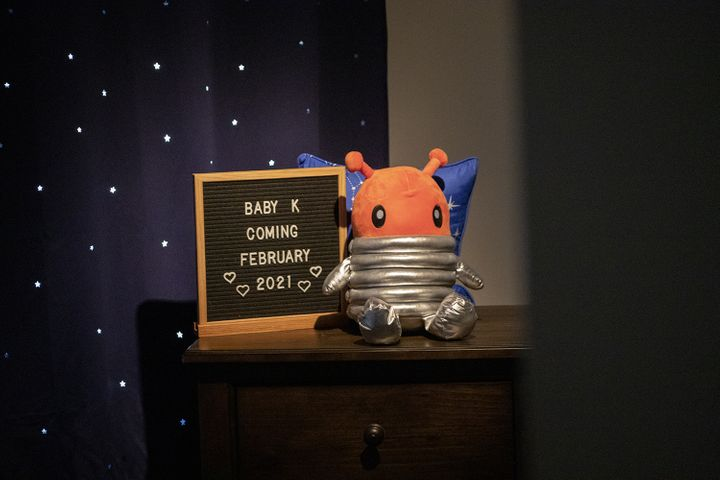 """The author's outer-space-themed nursery still sits untouched, although she says, """"I've felt the urge recently to start"""
