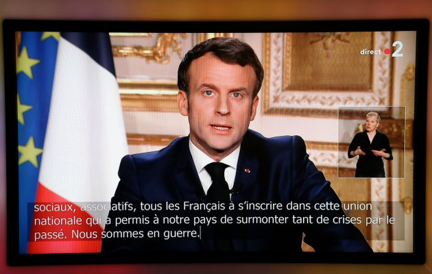 Emmanuel Macron annonçant le premier confinement national en France le 16 mars