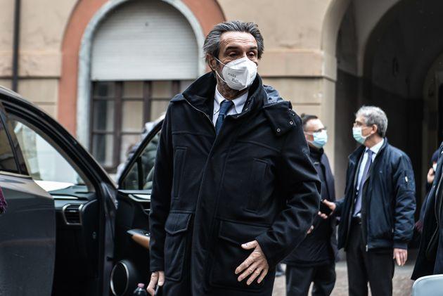 18/02/2021 Milano, Ospedale Fatebenefratelli, Vax Day; nella foto il Presidente Attilio Fontana in visita...