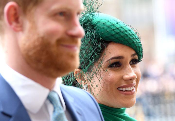 Los duques de Sussex, en la misa del día de la Commonwealth Day de 2020 en Londres.
