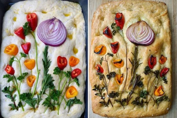 A focaccia garden by amateur baker Alyssa Reese.