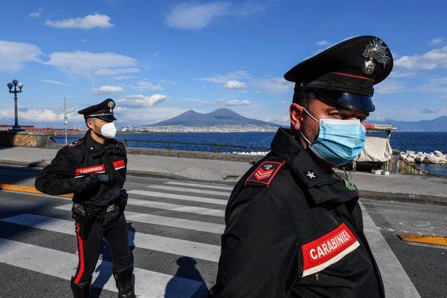 NAPLES, CAMPANIA, ITALY - 2020/04/23: A Carabinieri checkpoint on street Caracciolo to check if drivers...
