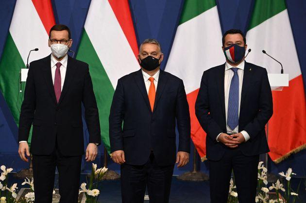 (LtoR) Polish Prime Minister Mateusz Morawiecki, Hungarian Prime Minister Viktor Orban and Italian senator...