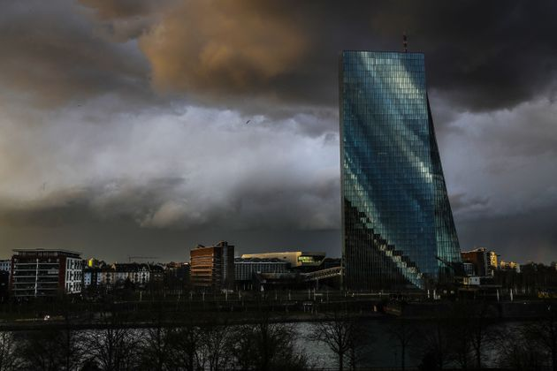 Τα γραφεία της Ευρωπαϊκής Κεντρικής Τράπεζας στην Φρανκφούρτη της Γερμανίας, 11 Μαρτίου 2021.