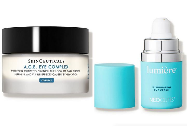 "Left to right: <a href=""https://www.skinceuticals.com/a.g.e.-eye-complex-for-dark-circles-635494358001.html"" target=""_blank"" rel=""noopener noreferrer"">SkinCeuticals A.G.E. Eye Complex</a>, <a href=""https://www.neocutis.com/product/lumiere/"" target=""_blank"" rel=""noopener noreferrer"">Neocutis Lumi&egrave;re Illuminating Eye Cream</a>"