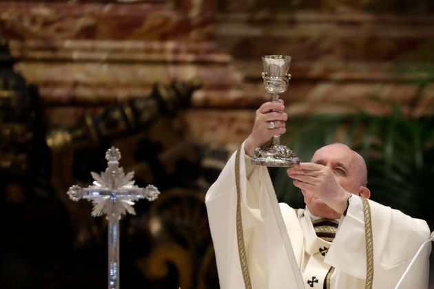 Pope Francis celebrates a Chrism Mass inside St. Peter's Basilica, at the Vatican, Thursday, April 1,...