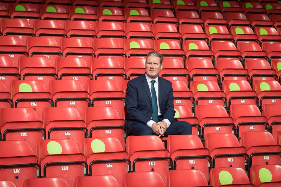 Sir Keir Starmer during a visit to Walsall football