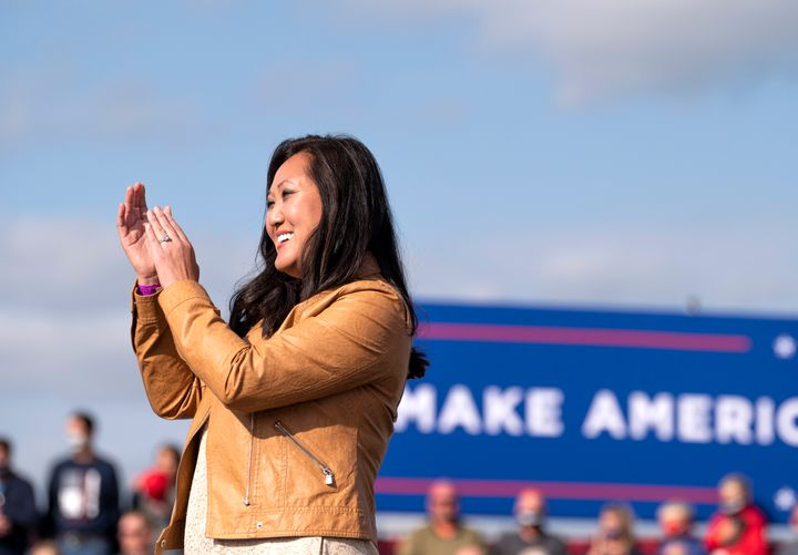 Minnesota Republican Party chair Jennifer Carnahan, shown here at a Sept. 18 rally for President Donald Trump at the Bemidji