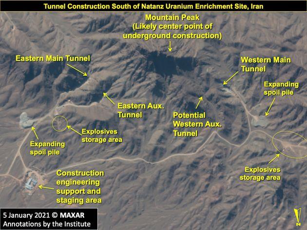 5 Ιανουαρίου 2021. Χάρτης με την περιοχή όπου κατασκευάζεται υποδομή με καταφύγια, στα νότια του Νατάνζ...