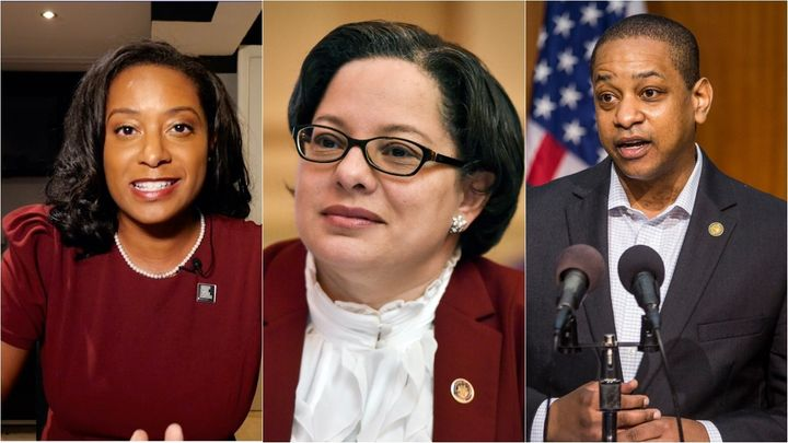 Former Virginia Del. Jennifer Carroll Foy (left), state Sen. Jennifer McClellan and Lt. Gov. Justin Fairfax are Black candida