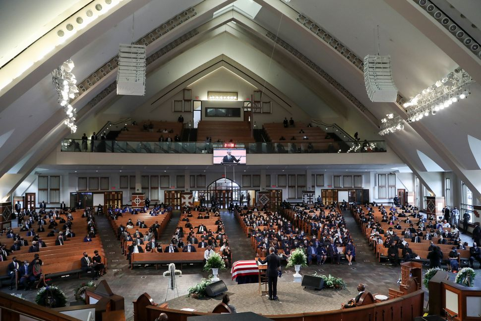 Former President Barack Obama gives the eulogy at the funeral service for Rep. John Lewis at Ebenezer Baptist Church on July