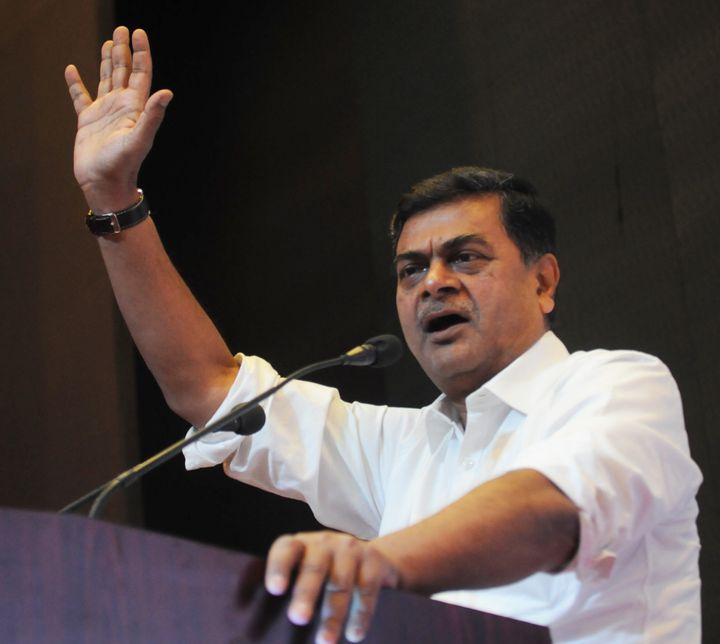 Indian energy minister Raj Kumar Singh speaks in Patna, India.