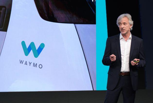 FRANKFURT AM MAIN, GERMANY - SEPTEMBER 12: John Krafcik, CEO of Waymo, speaks at the opening event of...