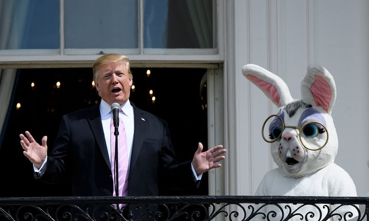 Former president Donald Trump and the Easter Bunny on April 22, 2019, in Washington, D.C.