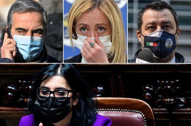 Maurizio Gasparri, Giorgia Meloni, Matteo Salvini. In basso la ministra Fabiana