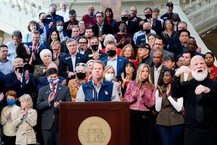 Brian Kemp speaks during a news conference at the State Capitol on Saturday, April 3, 2021, in Atlanta, about Major League Ba