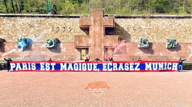 Cette banderole de supporters du PSG au Mont Valérien est mal