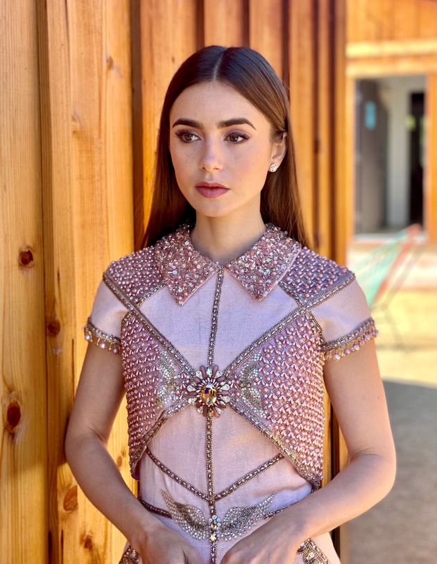 Lily Collins is seen in her award show look for the Screen Actors Guild Awards on Feb. 22 in Ojai, California....