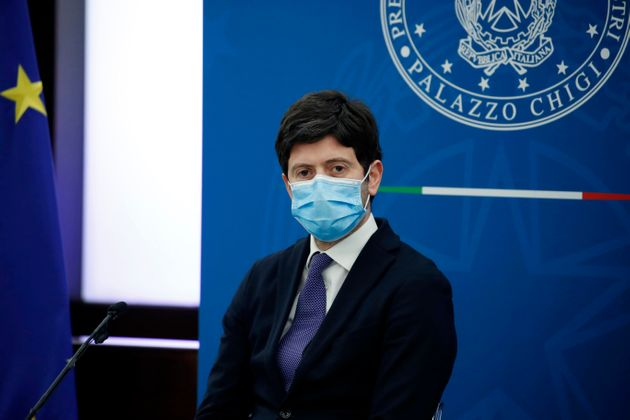 Health Minister Roberto Speranza during the press conference at the Multifunctional Hall of the Prime...