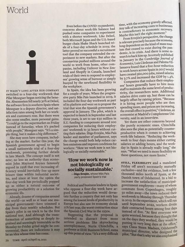 La primera parte del reportaje sobre la jornada de cuatro días en la revista