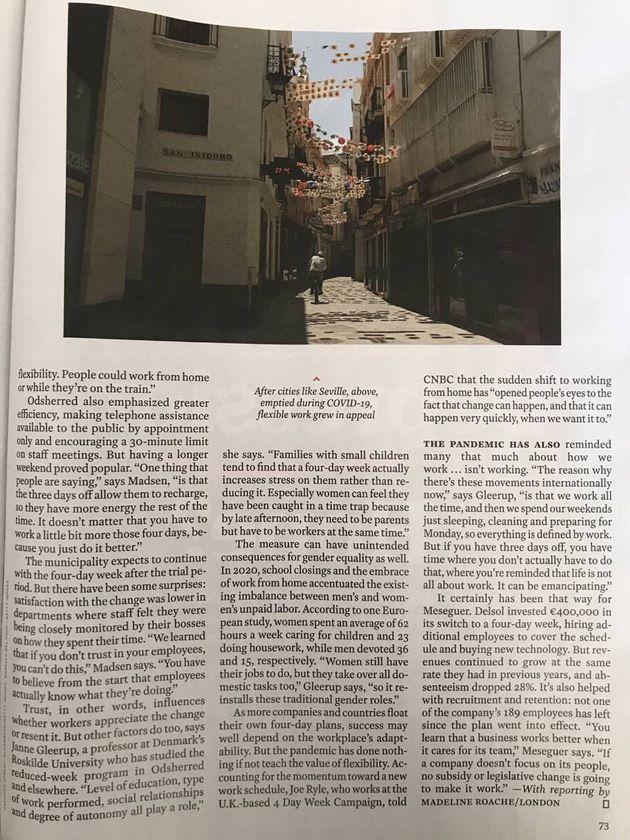 La segunda parte del reportaje sobre la jornada de cuatro días en la revista