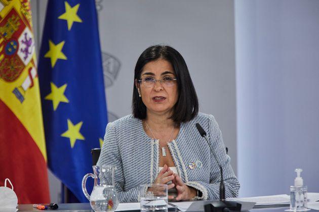 La Ministra de Sanidad, Carolina Darias, ante los medios de
