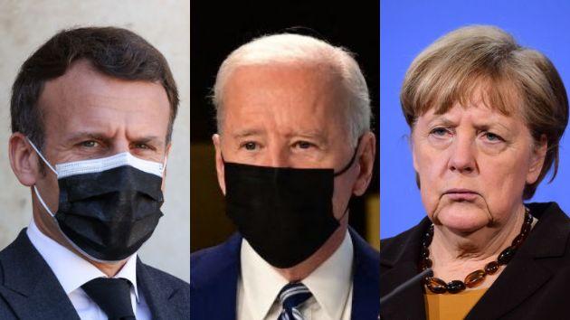 El presidente de Francia, Emmanuel Macron, el presidente de EEUU, Joe Biden, y la canciller de Alemania,...