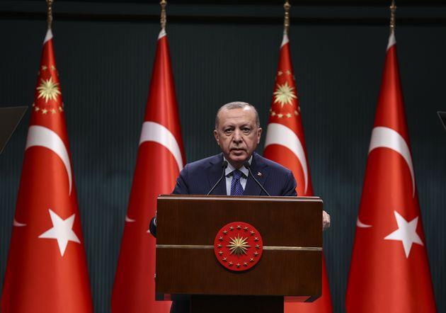 ANKARA, TURKEY - APRIL 05: Turkish President Recep Tayyip Erdogan makes a speech following the evaluation...