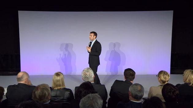 Emmanuel Macron lors du lancement du mouvement En Marche! le 6 avril 2016 à