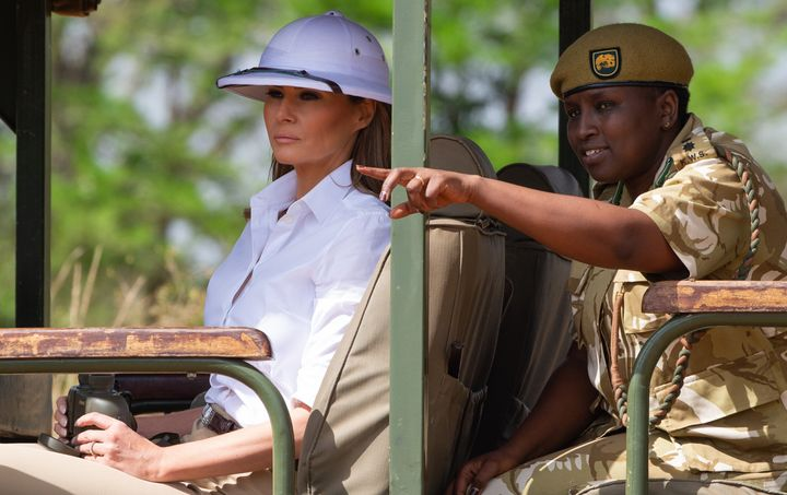 First lady Melania Trump goes on a safari with Nelly Palmeris (R), Park Manager, at the Nairobi National Park in Nairobi, Oct