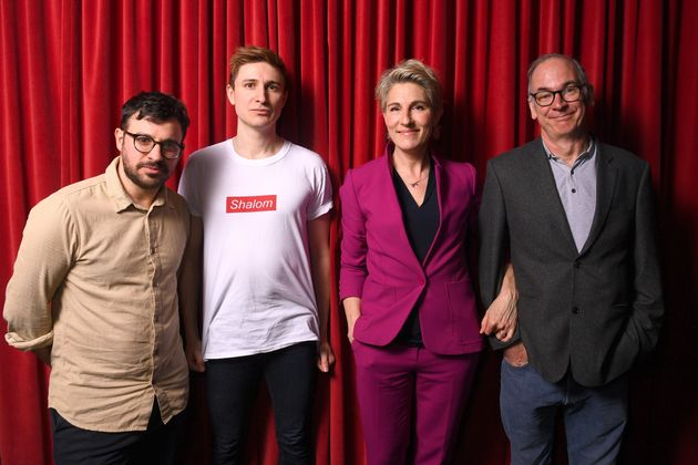 Paul with co-stars Simon Bird, Tom Rosenthal and Tamsin Greig, pictured in March