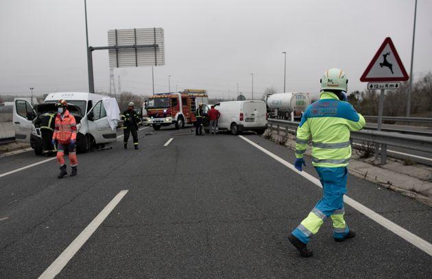 Accidente de tráfico en una carretera
