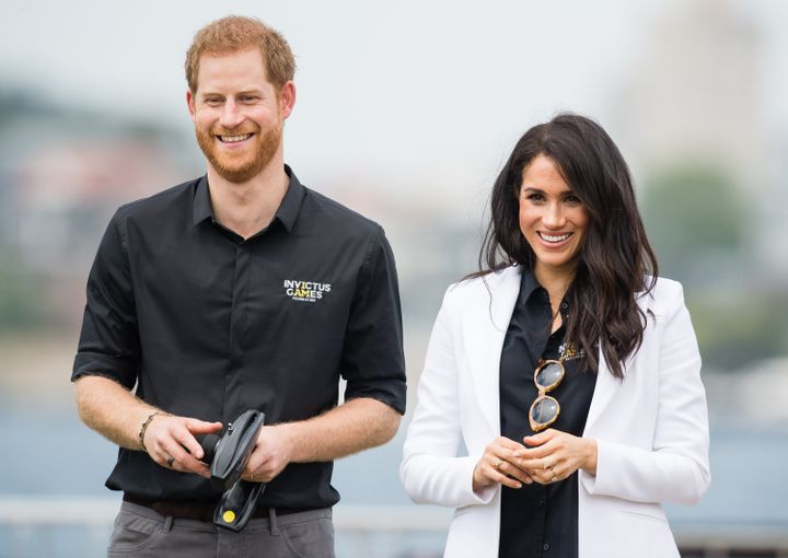 The Duke and Duchess of Sussex attend the Jaguar Land Rover Driving Challenge at the Invictus Games on Oct. 20, 2018, in Sydn