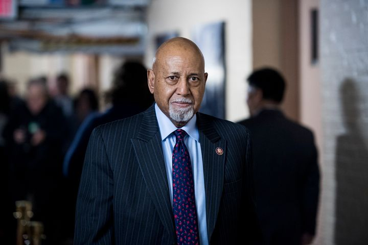 Rep. Alcee Hastings, D-Fla., leaves the House Democrats' caucus meeting in the Capitol on Jan. 4, 2019.