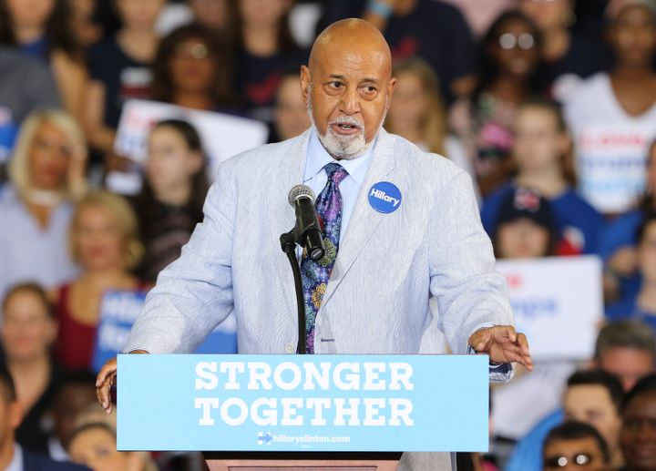 United States Congressman Alcee Hastings speaks before the arrival of Democratic presidential candidate Hillary Clinton durin