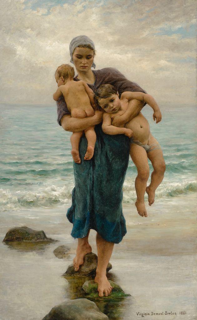 'Femme de pêcheur venant de baigner ses enfants', cuadro de Virginie Demont-Breton