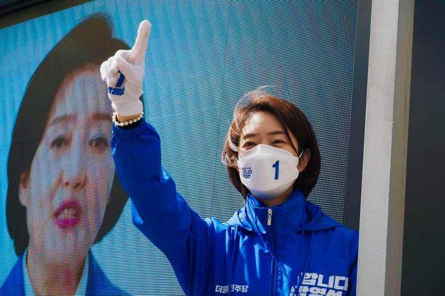 고민정 의원이 박영선 더불어민주당 서울시장 후보에 대한 지지를 호소하고